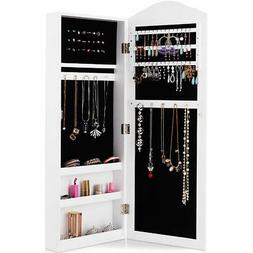 Wall Mounted Mirrored Armoire Jewelry Cabinet Storage Organi