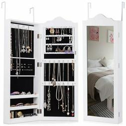 Wall Mounted Mirrored Jewelry Armoire Storage Organizer