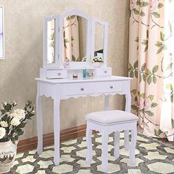 White Vanity Jewelry Makeup Dressing Table Set W/Stool 4 Dra