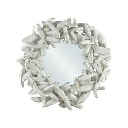 White Wood Chunks Bordered Round Wall Mirror Made Of Wood In