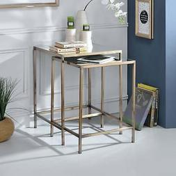 ACME Yumia Antique Brass Nesting Table Set 2 Piece