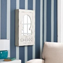 Zoey Shabby Chic Wall Mounted Mirrored Jewelry Armoire